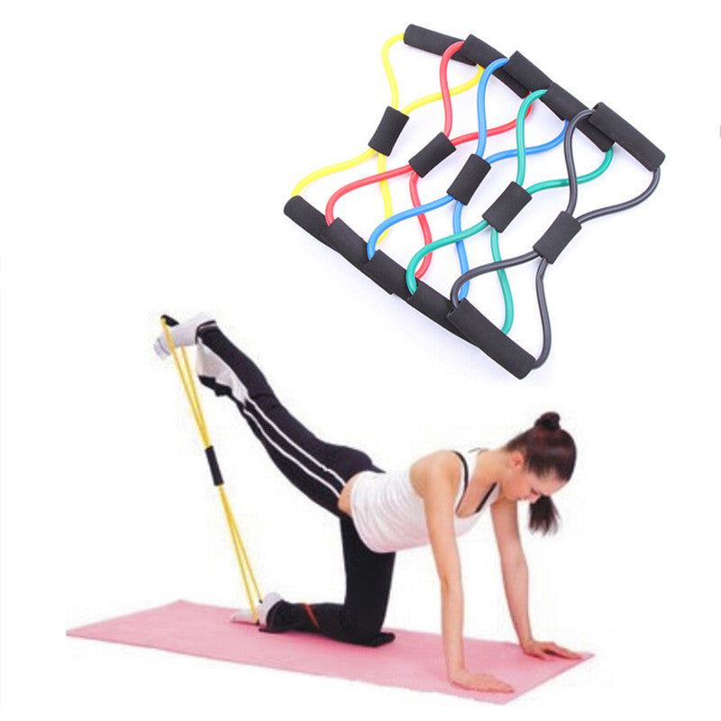 Resistance Training Bands Rope Tube Workout Exercise for Yoga 8 Type Fashion Body Fitness - Shopy Max