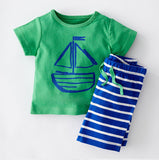 2015 new summer cotton boys Fish cartoon images clothing sets kids girls