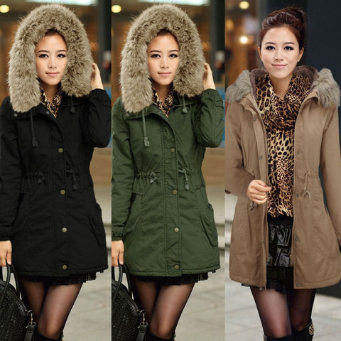 2014 New Winter Parka Women Fleece Winter Coat Amry Green Fur Hooded Coat Fashion Women's Jacket Plus Size 9009 Free Shipping