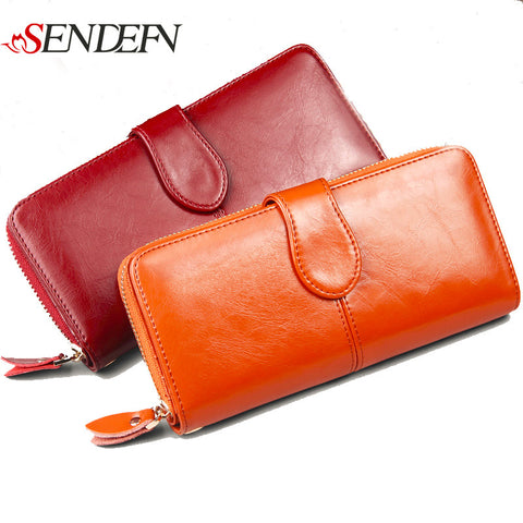 100% Genuine Leather Women Wallet Luxury Brand Designer Wallet Women