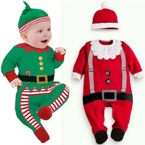 2015 Baby Christmas Clothes Set Outfits Boy Girl Kids Romper Hat Cap Set Gift for 0-2Y