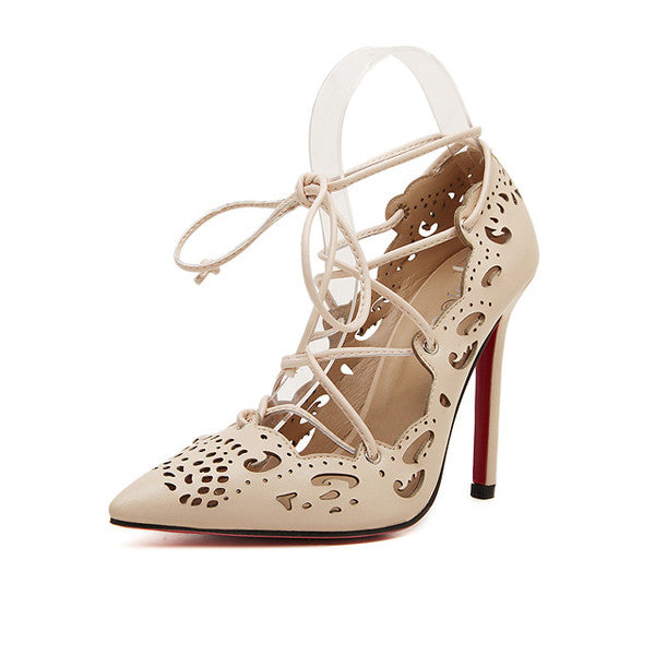 b59a276dba7d Women Shoes Red Bottom High Heels Shoes Woman Pointed Toe Woman Fashion Lace  Up High Heel
