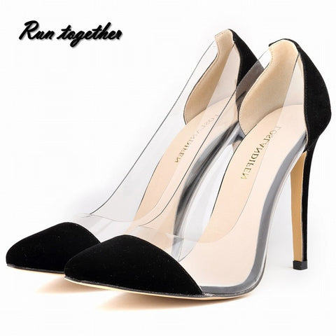 New fashion sexy women's pumps pointed toe Princess gril's high heeles shoes size 35-42 Transparent party wedding shoes