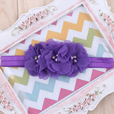 1 Pieces Newborn Baby Headband Chiffon 3 Flower Pearl Diamond with - Shopy Max