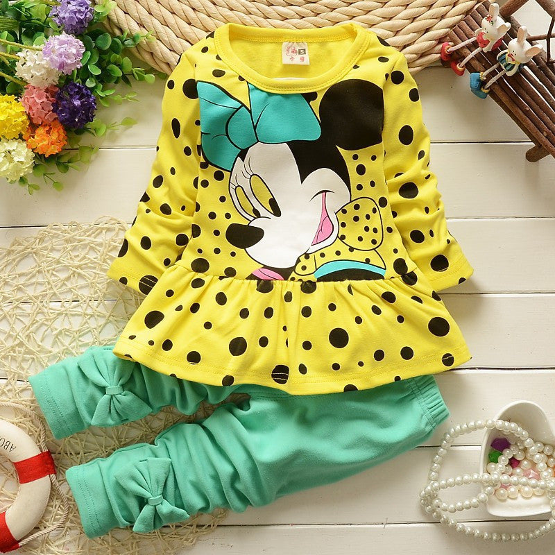 New Arrive Kids Girls Clothing Set Minnie Tops + Pants Cotton Baby Girls Suits Set Autumn
