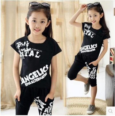 2015 Summer Children's Hip Hop Style Clothing Sets Boys Girls Fashion Casual Tees