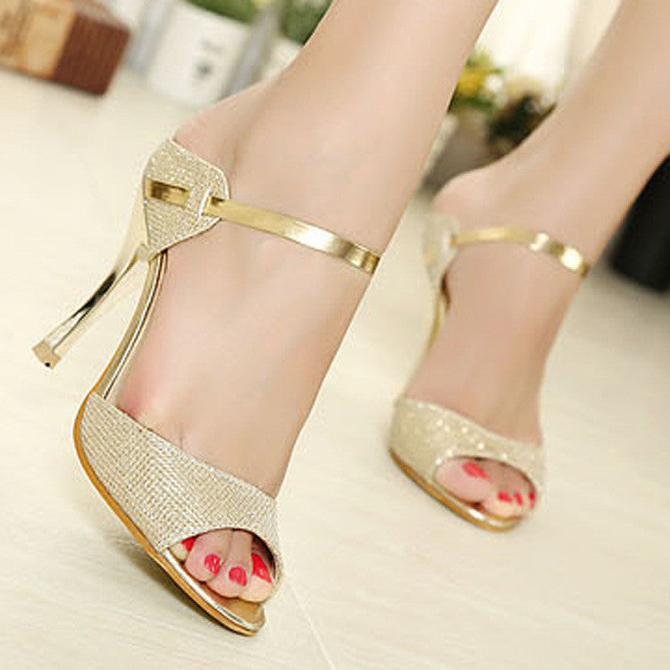 2015 High Heels Sandals Gold Sliver Ankle-Wrap Women Sandals Beautiful Ladies Sandals Summer Shoes Gladiator Heels