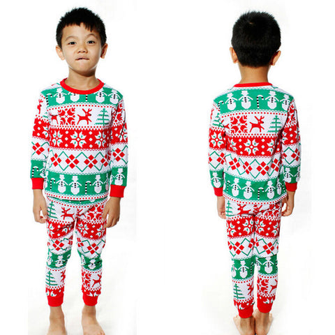 2015 Christmas Baby Kids Girls Boys Long Sleeve Nightwear
