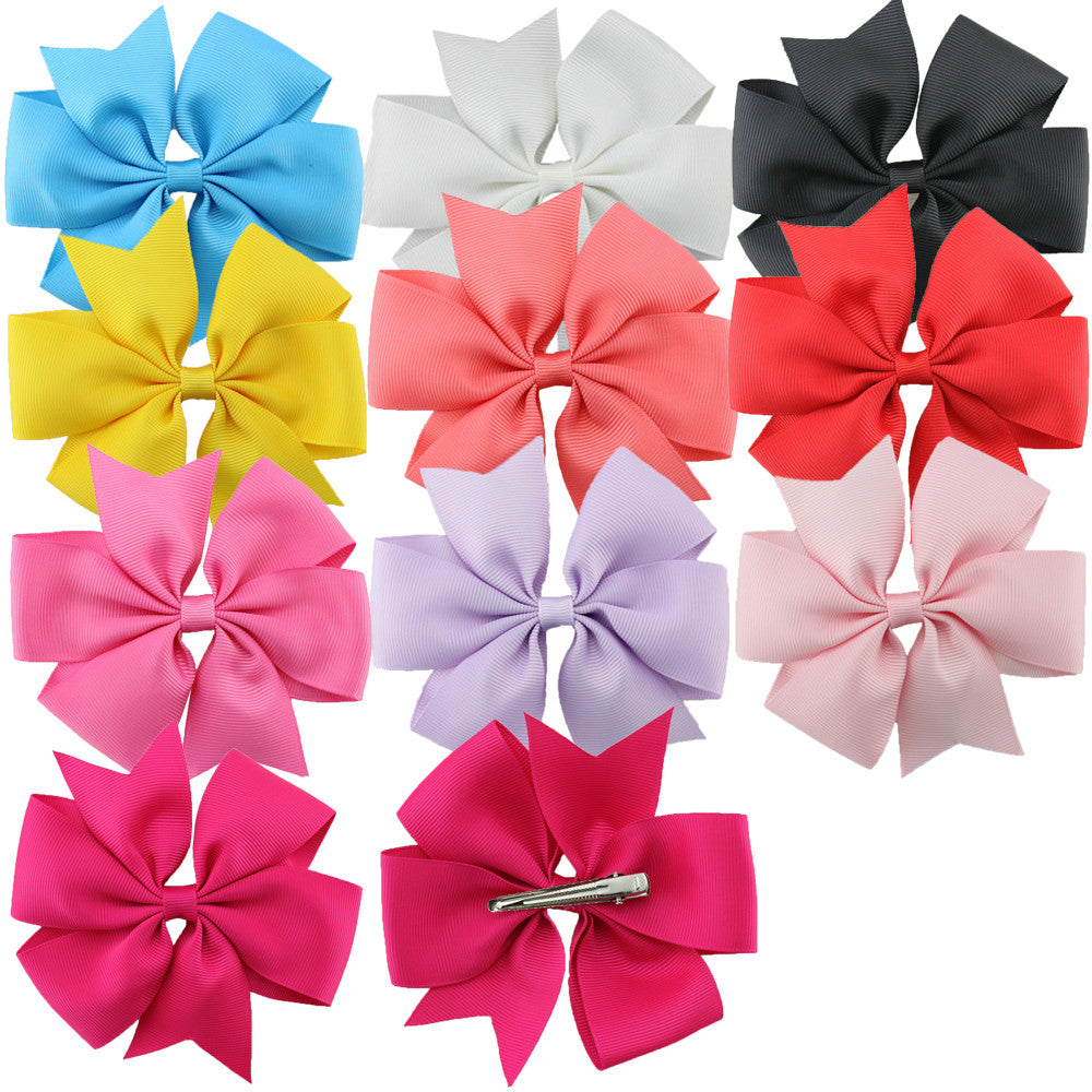 "10pcs/set 4.5"" Big baby Hair Bow Clip Boutique Girls Kids Grosgrain Ribbon - Shopy Max"