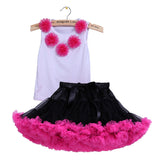 Kids girl Ballet dance skirt clothes set flower vest top+fluffy pettiskirt tutu suit children girls fashion skirt set 2pcs - Shopy Max
