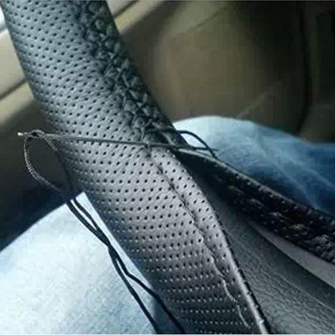 1pcs Black DIY Car Steering Wheel Cover With Needles and Thread Genuine Artificial leather free shipping