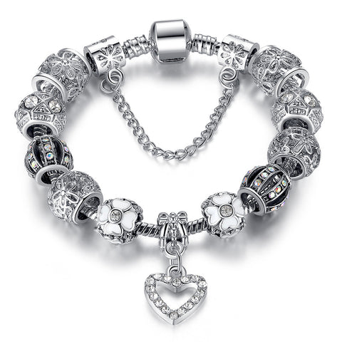 Fashion 925 Silver Heart Charm bracelet for Women DIY Beads Jewelry Fit Original pandora Bracelets Pulseira Gfit  PS3145