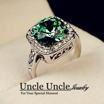 18K White Gold Plated Royal Design Crystal Square Green Jewelry Lady Wedding Finger Ring Wholesale - Shopy Max