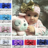 Sequin Solid Print Bows hair Band elastic Headband Baby Girl bow tiara New - Shopy Max