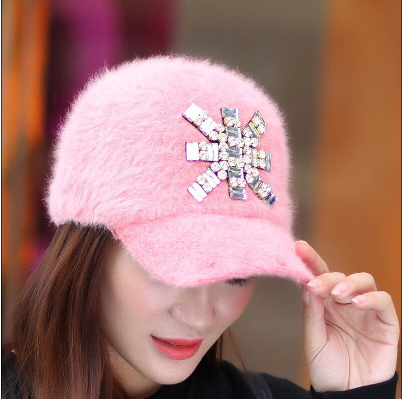 1 Pcs 2014 New Korea Rabbit Fur Fashion Baseball Cap Women Winter Warm Hat Multicolor - Shopy Max