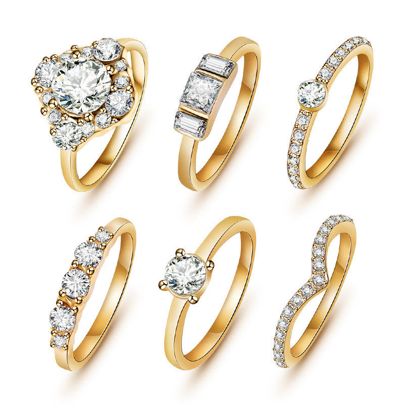 (6pcs /set) Hot Shiny 18K Black Gold Crystal Austrian Zircon Rings Set Noble Charms Silver Wedding Rings for Women Girls Jewelry - Shopy Max
