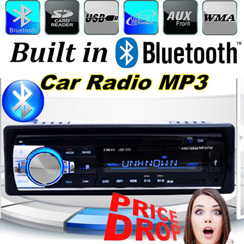 2015 New 1 DIN 12V Car Radio player MP3 Audio Stereo FM Built in Bluetooth Phone with USB/SD MMC Port Car Electronics In-Dash
