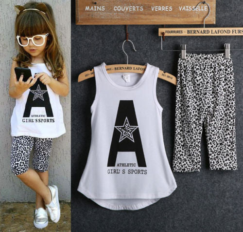 2016 Kids Baby Girls 2pcs Sleeveless Letter Print Tops +Leopard Half Pant