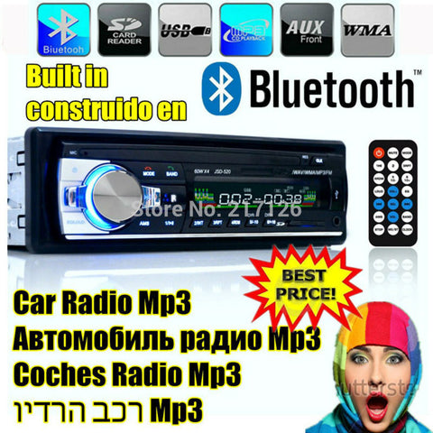 2015 New style 12V Car Stereo FM Radio MP3 Audio Player Support Bluetooth Phone w/ USB/SD MMC Port Car Electronics In-Dash 1 DIN