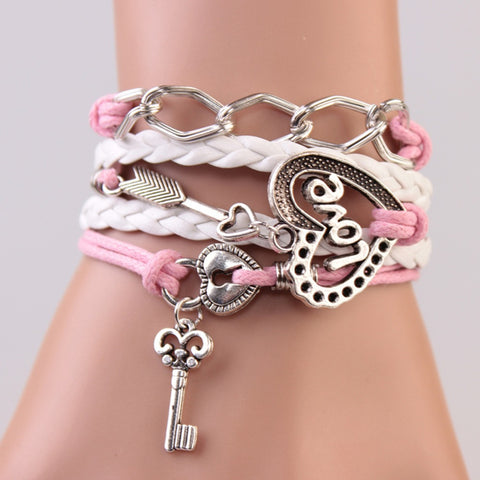 2014 New handmade bracelet  lock+key +Cupid's Arrow Charms Infinity Bracelet white&pink leather Braclet. Best Couple Gift IB710