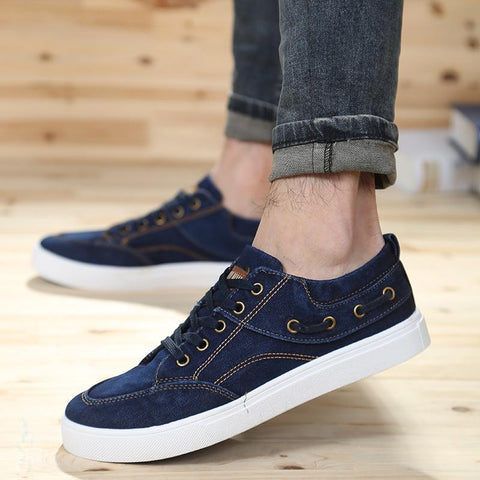 denim canvas shoes for man 2016 spring low cut flat male sneakers  men's skateboarding shoes