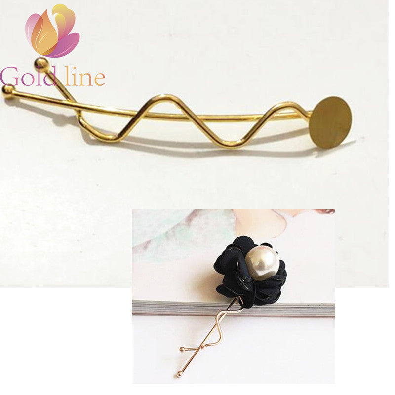 Free Shipping 30 pcs  Golde Twist clip l clip  Metal Hair accessories DIY Jewelry