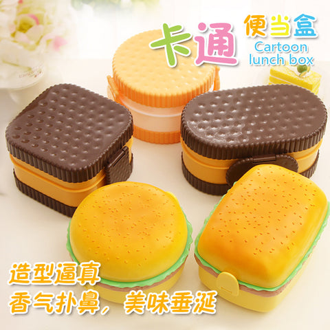8 Color Fun Life Hamburger  Biscuit Japan Style Double Tier Bento Lunch Box Kitchen