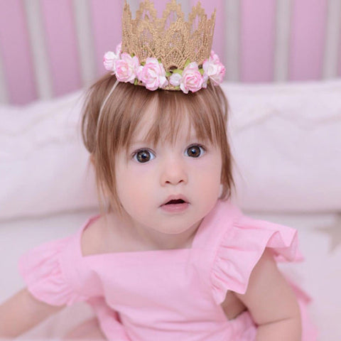 1 PC Baby Headband Rose Flowers Gold MINI Lace Crown Headband Princess Tiara