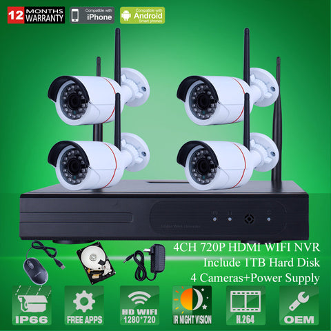 4CH CCTV System Wireless NVR Kit P2P 720P HD Outdoor IR Night Vision H.264 Security IP Camera WIFI Surveillance System 1TB HDD
