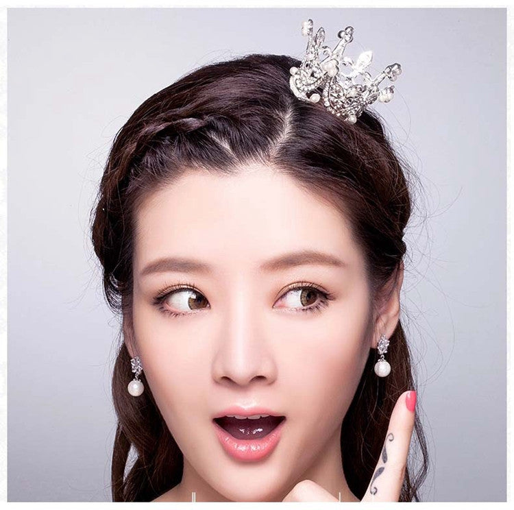 ( 3 PCS / LOTS ) Wholesale Clear Crystal Vintage Retro Bridal Mini Crown Hair Tiara Classic - Shopy Max