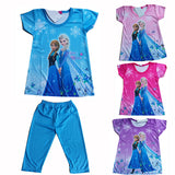 2016 Children Clothing Elsa Girls Pajamas Set Short sleeve Cotton Girl Pyjama Pijamas Kids