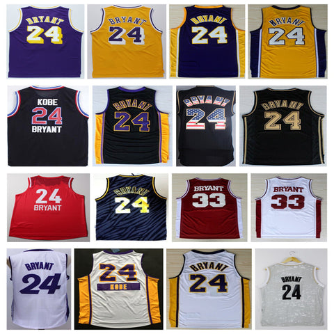 Kobe Bryant 24 Basketball Jersey,Stitched Mens New Rev 30 Kobe Bryant Jersey Black Purple White Gray Yellow Jersey Size:S-XXXL
