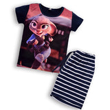 2016 Zootopia Children Clothing Set Summer Character Boys Girls Striped Clothes Sets