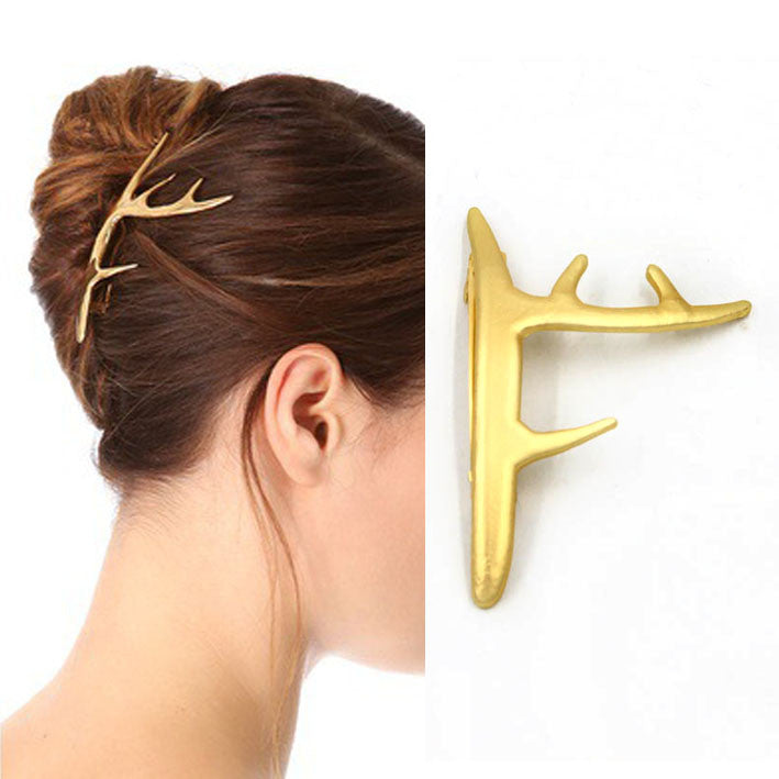 hot fashion popular matted gold metal deer horn Hair grips barrettes Hair clip - Shopy Max
