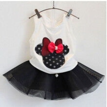 Kids Clothes Girls Clothing Sets New Summer Black Bow Tutu Skirt + White Sleeveless Tops Toddler Girl Clothes Children Clothing - Shopy Max