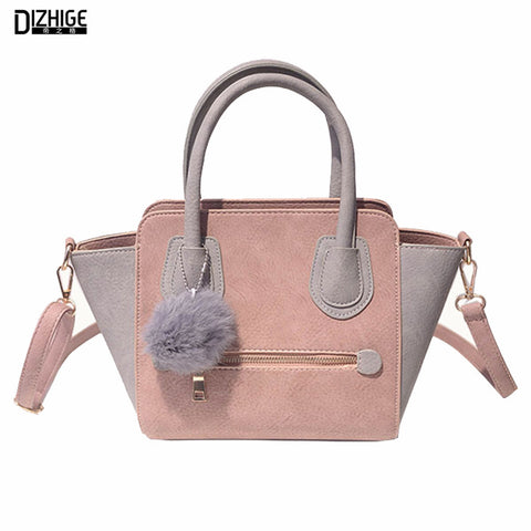 2016 Spring Smiley PU Leather Tote Bag Women Trapeze Fashion Designer Handbags
