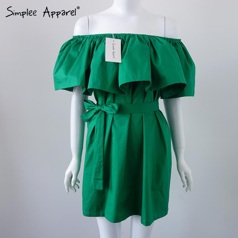 Simplee Apparel Ruffles slash neck women dress Summer style off shoulder sexy dresses - Shopy Max