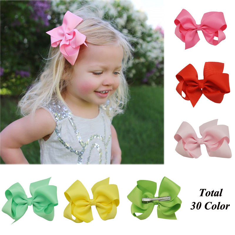 "Free Shipping 30 Pcs/lot 4"" Solid Hair Bow With Clip For Baby,Boutique Ribbon Hair Bow For Kids"
