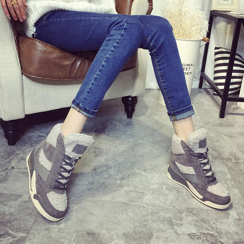 2016 Winter Spring New Korean Fashion Leather Lamb Wool Inner Height Increasing Wedge High Top Casual Shoes Woman Black Gray