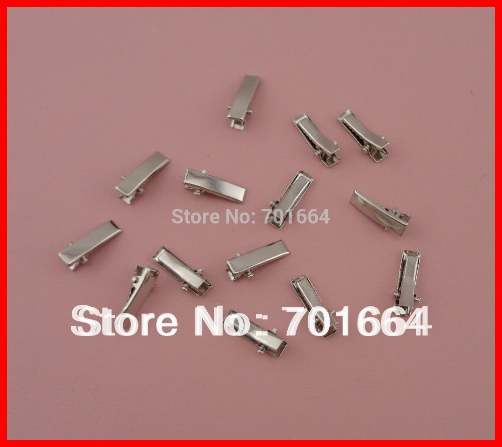 100PCS Silver Finish 20mm mini Rectangle plain Metal Alligator - Shopy Max