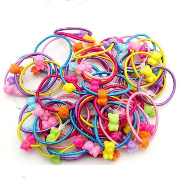 TS 50 pcs High Quality Carton Round Ball Kids Elastic Hair bands - Shopy Max
