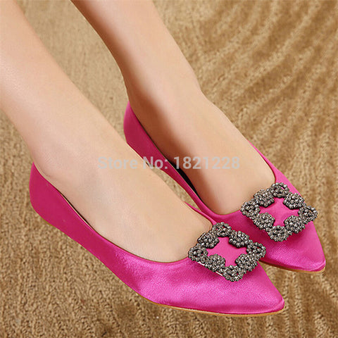 New ladies shoes Women flats shoes High Quality Manolos Wedding Shoes Jeweled Rhinestone Satin Silk Flat Shoes