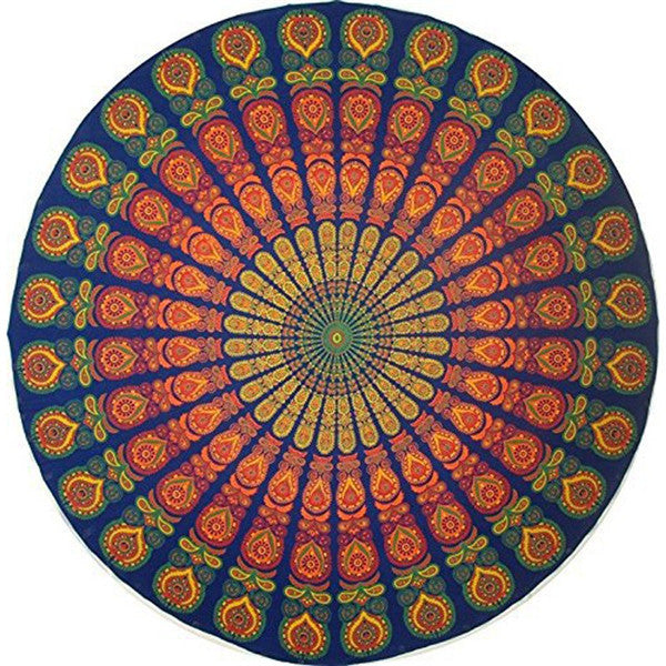 150cm Round Beach Towel Chiffon Printed Beach Round Bath Towels Summer Bohemia Circle Beach Shawl - Shopy Max