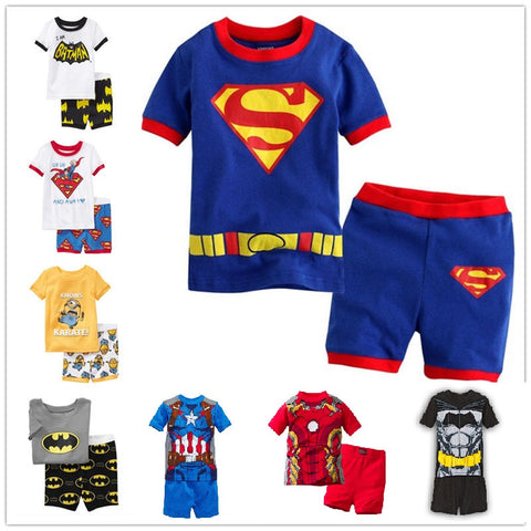 2016 new summer cotton  short sleeve clothes sets kids  pajamas girls pijama boys children's