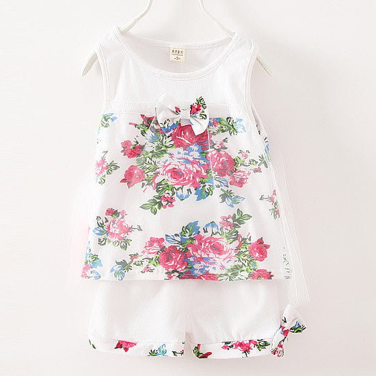 1-5 age 2016 New summer baby girls clothing sets mesh children girls lace floral bowknot vest + shorts 2pcs clothing suits girls - Shopy Max