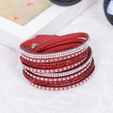 2014 Hot Selling ! New Women's Red Fashion Leather Charm Bracelet For Christmas Gifts New Year 13 Color ChoicesFree Shipping