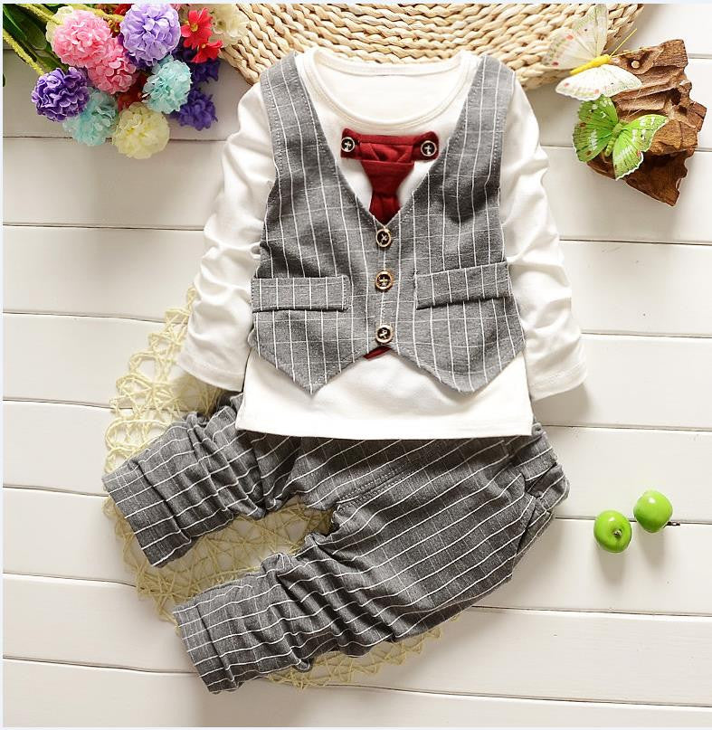 1-3yrs Baby Boys clothes fashion toddler girls set formal suits gentleman 2 Pcs Necktie stripe - Shopy Max
