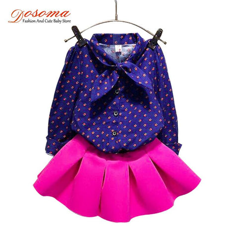 2015 2pcs/set autumn winter girl sweatshirt&blouse+cotton skirt clothing sets children clothes baby kids casual outfits size3-7T