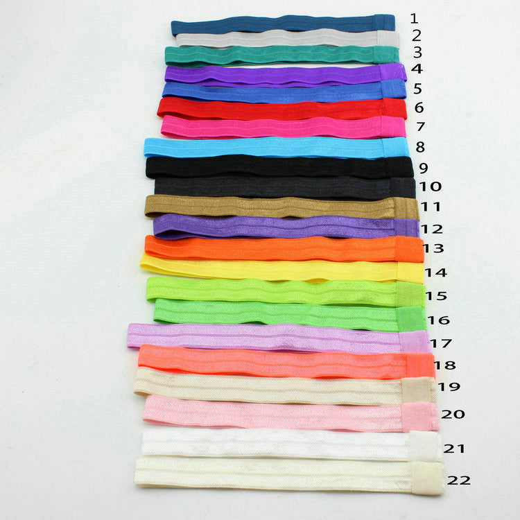 10pcs/lot Girls Solid Color Elastic FOE Headbands DIY Hair Accessory Satin - Shopy Max