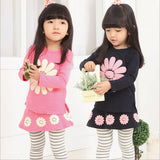 2016 Spring Baby Girls Clothing Set Sunflower Long-Sleeve T-shirt+Pants Skirt style Meninas Vestir Kids Girl Sets Clothes Wear